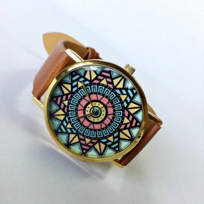 Aztec Watch, Vintage Style Leather ..