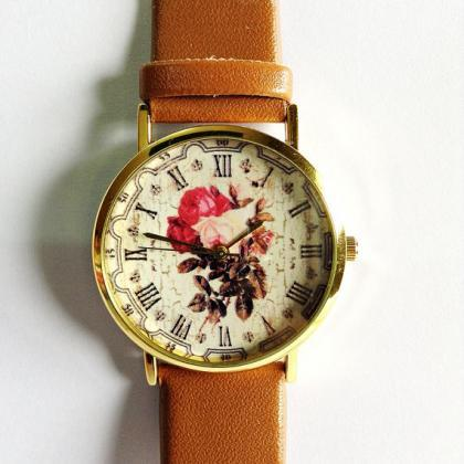 Floral Watch, Vintage Style Leather..