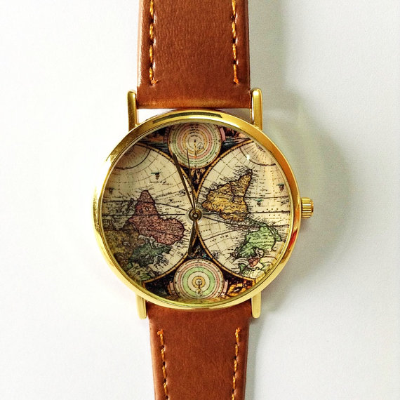 Map Watch, Vintage Style Leather Watch, Women Watches, Boyfriend Watch,  World Map, Men\'s Watch, Silver And Gold Case