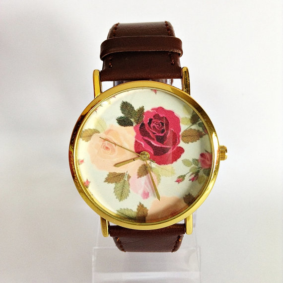 Floral Watch, Rose Watch, Vintage Style Watch, Victorian, Leather Watch, Women's watch, Boyfriend watch, Flowers, Roses, Mom, Sister