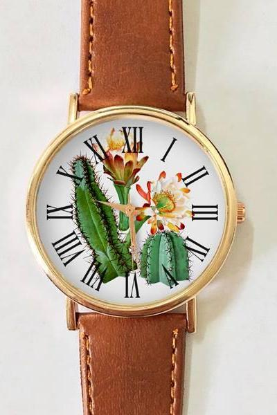 Cactus Watch, Women's Watch , Leather Watch, Vintage Style Watch, Summer Fashion, Succulents , Plant Watch