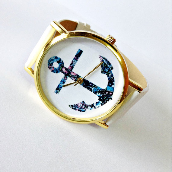 Anchor Watch, Nautical watch, Vintage Style Leather Watch, Women Watches, Unisex Watch, Boyfriend Watch, White, Tan