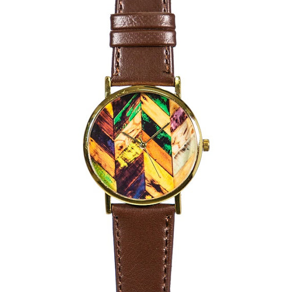 Autumn Wood Chevron Watch, Vintage Style Leather Watch, Men's Watch, Women Watches, Boyfriend Watch