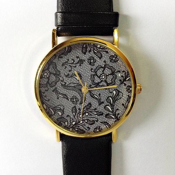 Vintage Lace Floral Watch , Vintage Style Leather Watch, Women Watches, Boyfriend Watch, Black Lace Print, Black