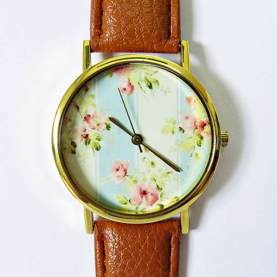 Grandma's Wallpaper Floral Watch, Vintage Style Leather Watch, Women Watches, Boyfriend Watch, Ladies Watch