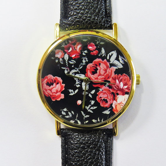 Vintage Red Roses on Black Watch, Floral Watch, Leather Watch, Women Watches, Boyfriend Watch, Ladies Watch