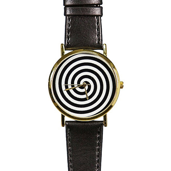 Black and White Swirl Watch, Vintage Style Leather Watch, Men's Watch, Women Watches, Boyfriend Watch